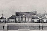 An artist's impression of Silver End school. Designed by J. Stuart. It has since been extended but still retains its original charm from the front.